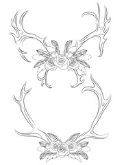 Set of contour illustrations deer antlers with roses and feathers. Boho. Vector element for your creativity