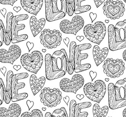 Seamless festive texture with doodle hearts and love inscription. Black and white background coloring for adults. Vector pattern for your creativity