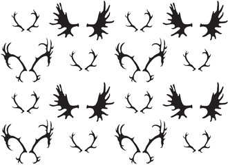 Seamless black and white pattern with a silhouette of deer and elk horns. Vector texture for your creativity