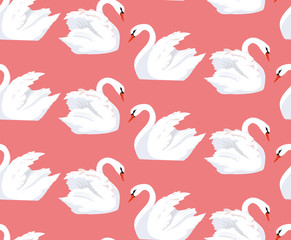 Seamless pattern with a pair of lovers swans on a pink background. Vector texture for your creativity