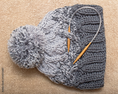 Thick Winter Knitted Cap Of Three Shades Gray Wool Mixture