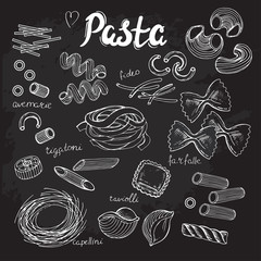 hand drawn set pasta collection on the black background