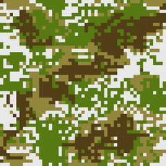 seamless pattern Protective camouflage  brown coloration pixel