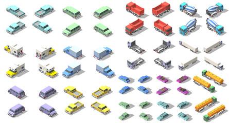 transports set isometric icon vector graphic illustration design. infographic elements