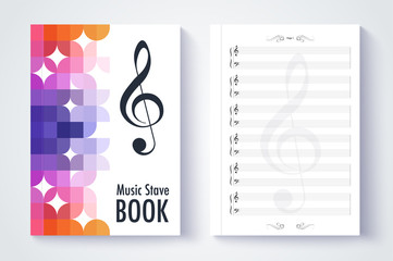 Music stave template, Blank stave note paper. Blank music note p