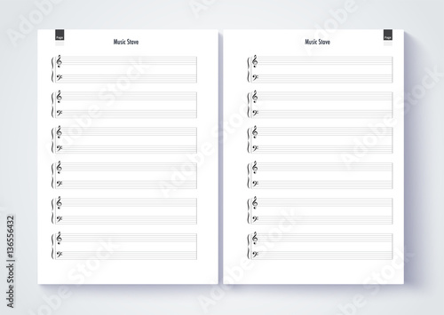 Music Stave Template, Blank Stave Note Paper. Blank Music Note P  Note Paper Template