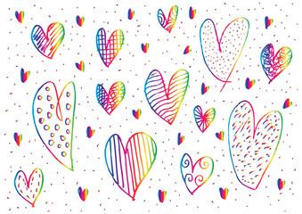Hearts set doodle