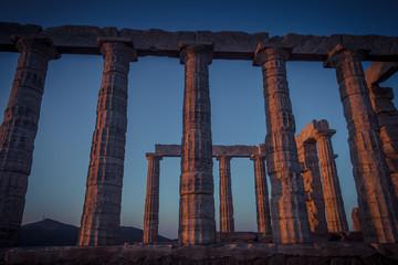 Ruins of Poseidon Temple in Cape Sounion, Greece