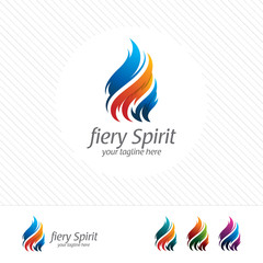 Colorful flame and fire logo design vector with modern look and gradient color.