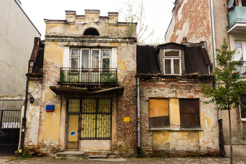 Abandoned house on the outskirts of Warsaw, Poland. Construction of the early 20th century..