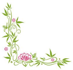 Bambus mit Lotus und Blumen. Yoga und Wellness.