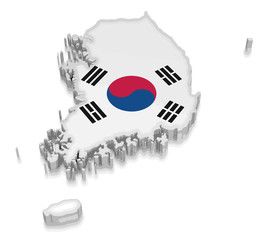 Map of South Korea. 3d render Image. Image with clipping path