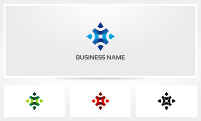 Compass Arrow Fold Direction Abstract Logo