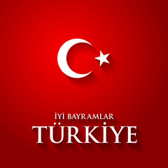 """Turkey flag color vector illustration with """"Happy holidays Turkey"""" text on red."""