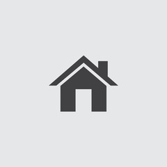 Home icon in a flat design in black color. Vector illustration eps10