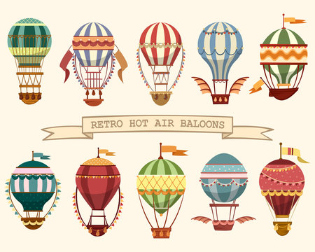 Icons of vintage hot air balloons with flags