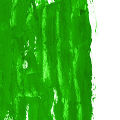 Green watercolor hand paint texture with spots and stains, isolated on white background. Illustration on paper. Abstract acrylic frame for creative design, place for text or logo.