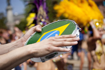 tambourine player on samba parade