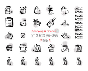 Hand-drawn sketch shopping web icon set - finance, economy, money, payments. With emphasis in round spots form. Isolated black and red on white background
