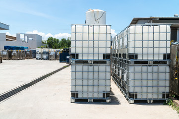 Plast IBC Tank for liquid chemical storage stored in warehouse