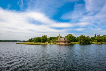 The Protestant Church of the Redeemer (Sacrower Heilandskirche) seen from water, Sacrow, Potsdam, Germany, Europe