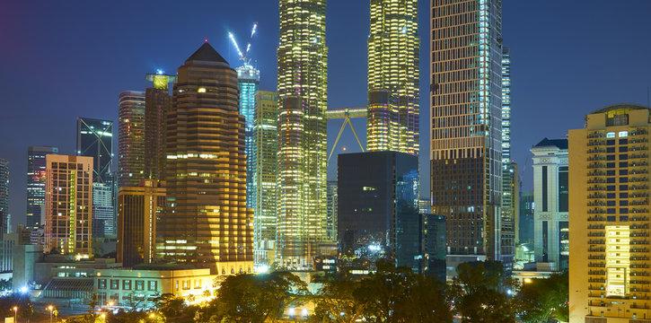 Beautiful night view of skyscraper in Kuala Lumpur, Malaysia .