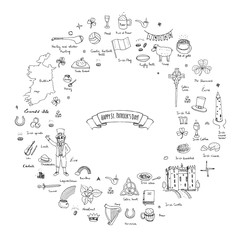 Hand drawn doodle Happy St. Patrick's Day set. Ireland icons. Vector illustration Sketchy Irish traditional food icons elements Flag Map Celtic Cross Knot Castle Leprechaun Shamrock Harp Pot of gold