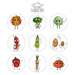 Hand drawn doodle emoji Vegetables characters icons set. Vector illustration Cartoon symbols collection Different kinds of veggies Smiles Face emotions Pumpkin Potato Tomato Broccoli Pepper Squash