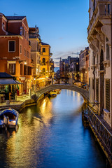Typical small Venetian Canal in the evening, Venice (Venezia), Italy, Europe