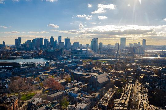 Aerial view of Boston from Bunker Hill Monument - Boston, Massachusetts, USA