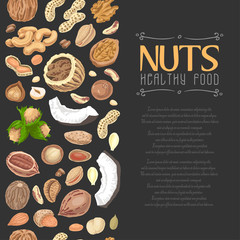 Seamless pattern with colored nuts and seeds