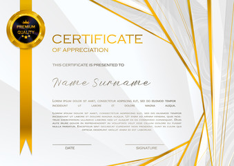 Qualification Certificate of appreciation, design. Elegant luxury and modern pattern, best quality award template with white and golden tapes, shapes, badge. Vector illustration