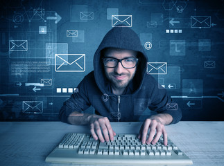 Intruder hacking email passcodes concept