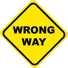 wrong way sign yellow