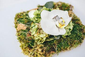 Wedding rings on the big white flower