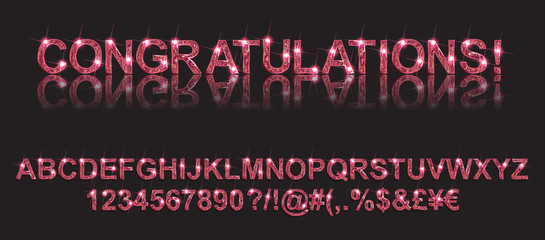 Congratulations. Gold alphabetic fonts and numbers on a black background. Vector illustration