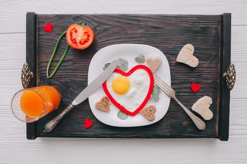 valentine day.romantic breakfast.