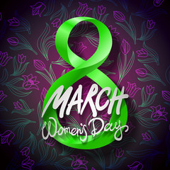 March 8 greeting card. International Womans Day. vector. black background