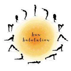 Sun Salutation. Surya Namaskara
