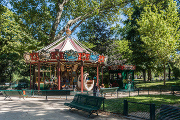 The carousel in the Monceau garden in Paris