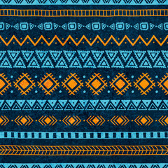 Seamless vintage pattern. Grungy texture. Blue and orange colors