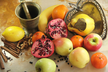 Composition Of Fruits On The Marble