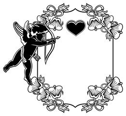 Black and white frame with silhouettes of Cupid and hearts. Vector clip art.
