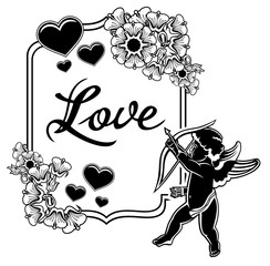 Black and white label with silhouettes of Cupid. Vector clip art.