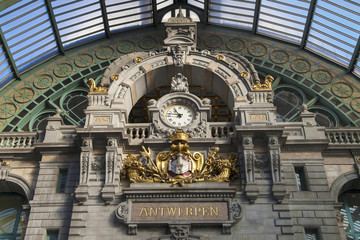 Clock of Antwerp Central Railway Station