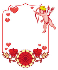 Elegant frame with Cupid, decorative flowers and hearts. Vector clip art.