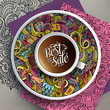 Vector up of coffee and Sale doodles on a saucer, paper and background