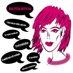 Girl, symptoms of anorexia nervosa