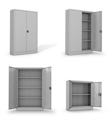 Metal cabinets for documents on a white background. 3D illustrat