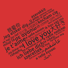 I love you in different language. Words heart on red background. Vector illustration